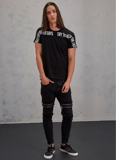 Pi π Fermuar Detaylı Jean Pantolon Siyah